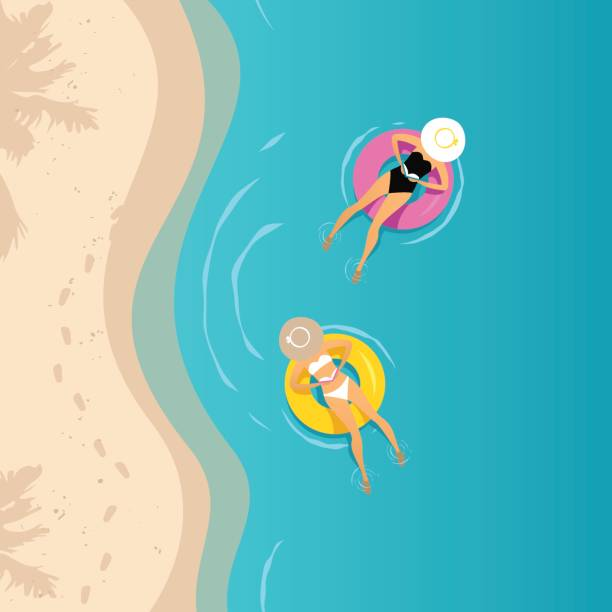 Two women swimming on the inflatable ring vector art illustration