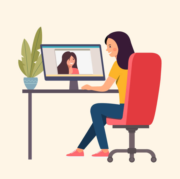 Two women talking by videochat. Vector flat style Illustration vector art illustration