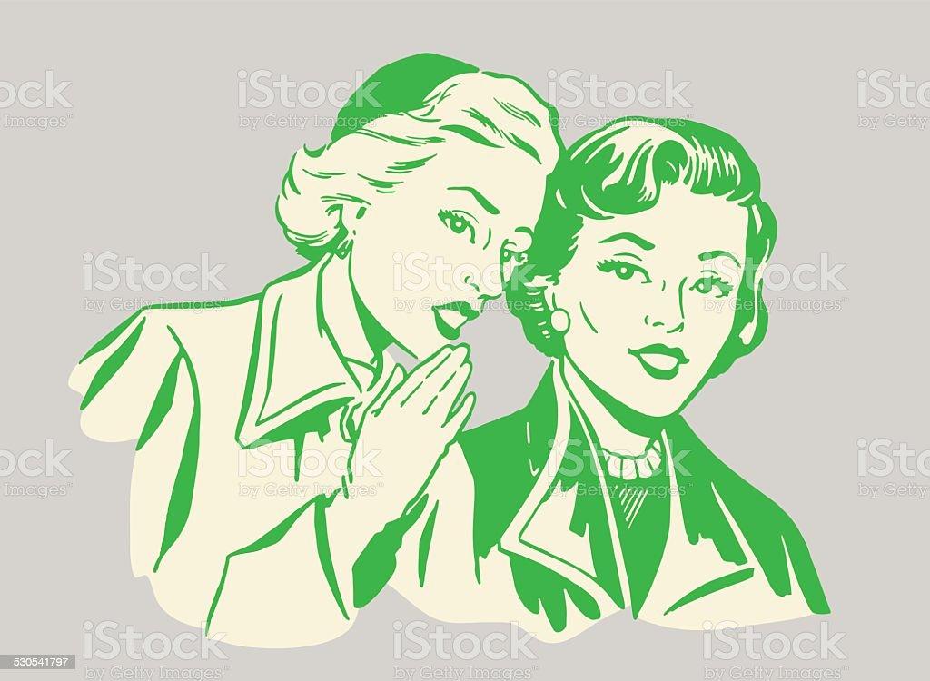 Two Women Talking vector art illustration