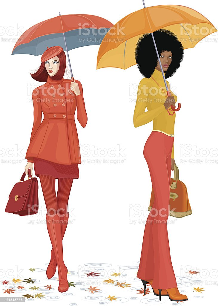 Two women under rain royalty-free stock vector art