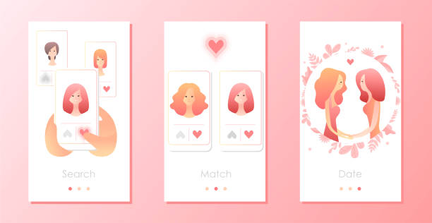 Two women using mobile application for dating or searching romantic partner on internet Two women using mobile application for dating or searching romantic partner on internet. Gay female couple met online. Mobile app templates concept vector illustration flat design girlfriend stock illustrations