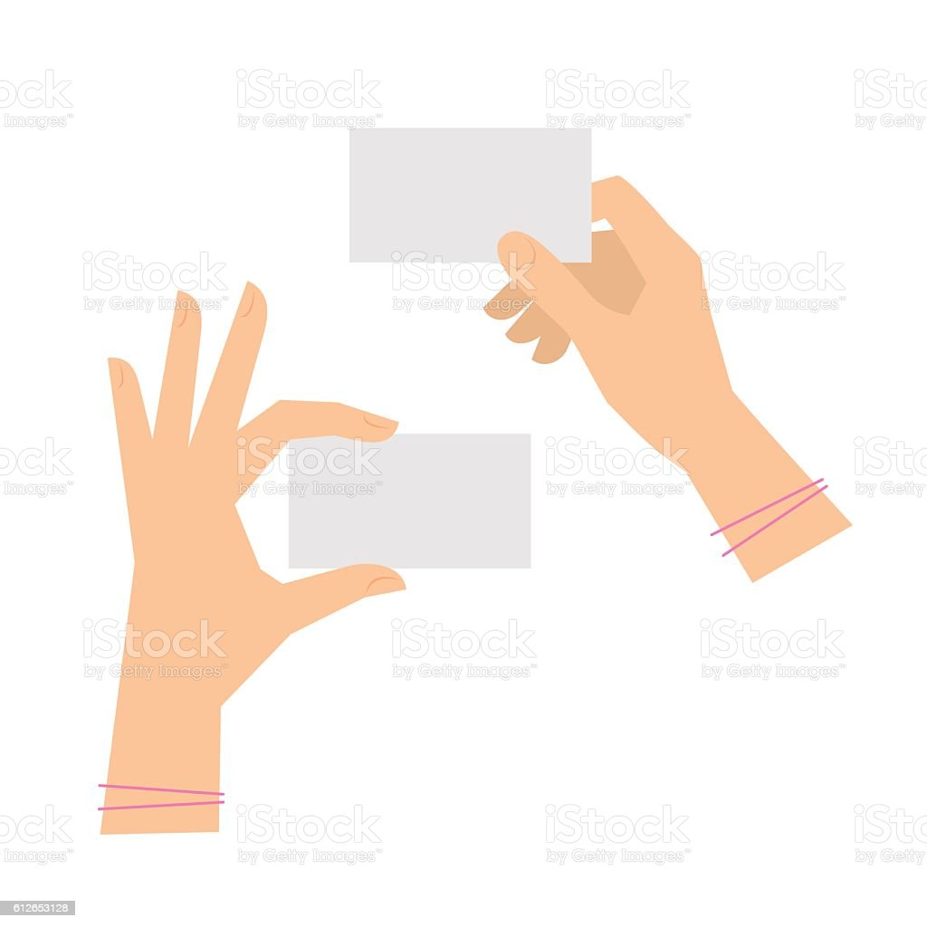 Two women's hands are holding business cards. Template flat illustration. vector art illustration