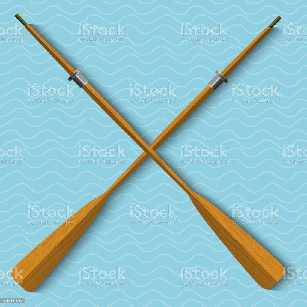 Two wooden oars on wavy background vector art illustration