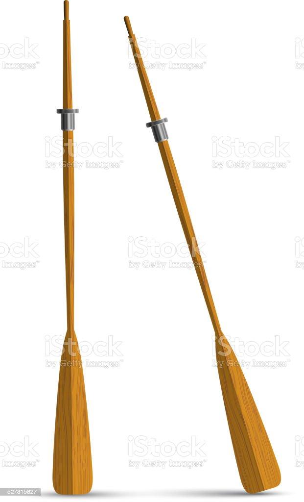 Two wooden oars vector art illustration