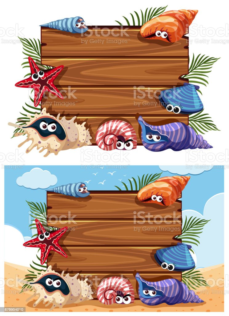 Two wooden signs with shells and starfish vector art illustration