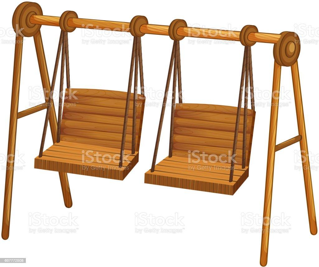 Two wooden swings on white vector art illustration