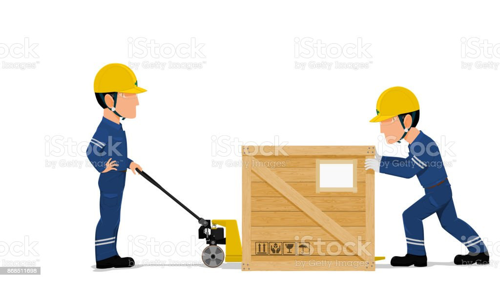 two workers are loading a wooden container vector art illustration