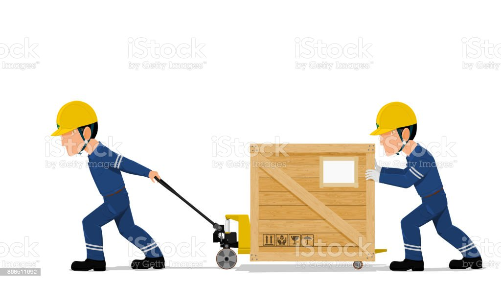 two workers are moving a wooden container vector art illustration
