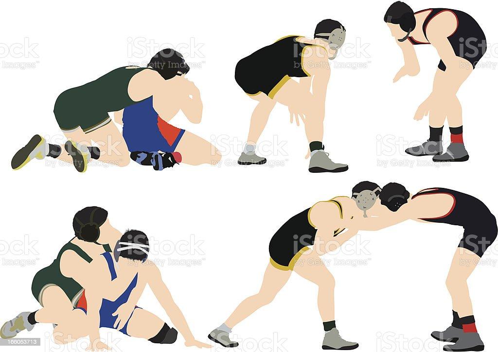 Dos wrestlers en acción - ilustración de arte vectorial
