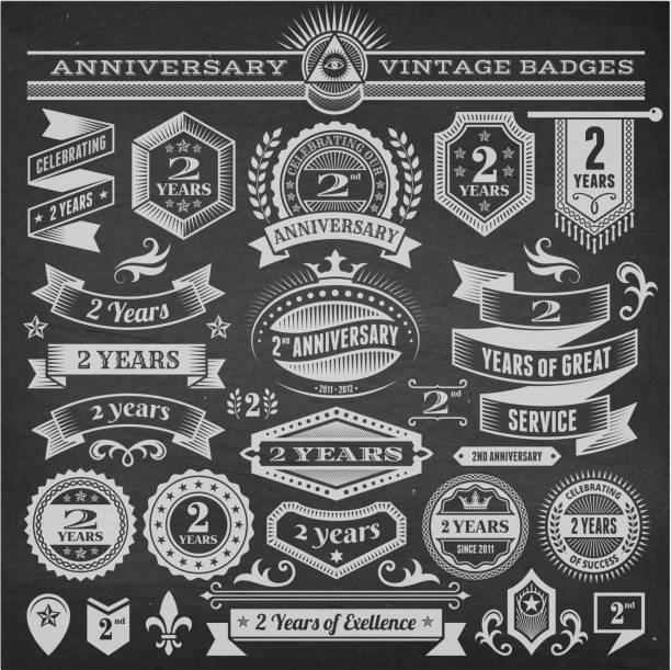two year anniversary hand-drawn chalkboard royalty free vector background - anniversary drawings stock illustrations