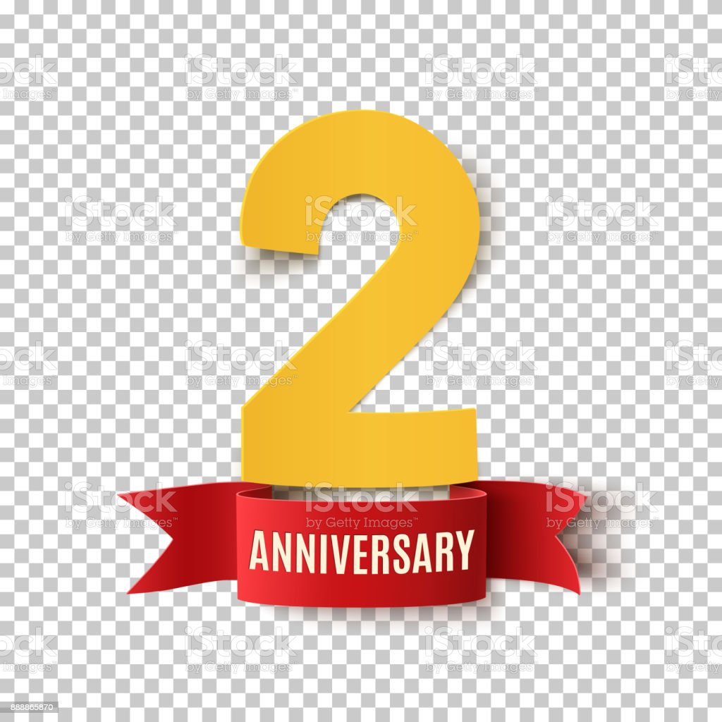 Two years anniversary design template. vector art illustration