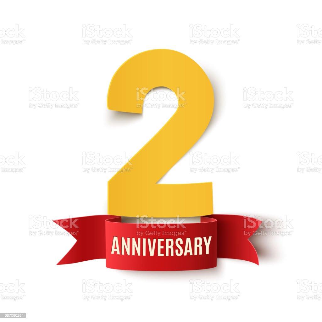 Twee Jaar Verjaardag Ontwerp Stockvectorkunst En Meer Beelden Van 2