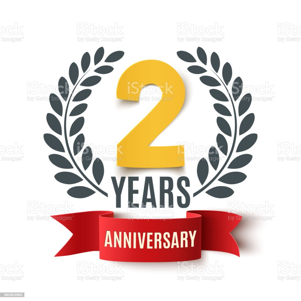 Two years anniversary design. vector art illustration