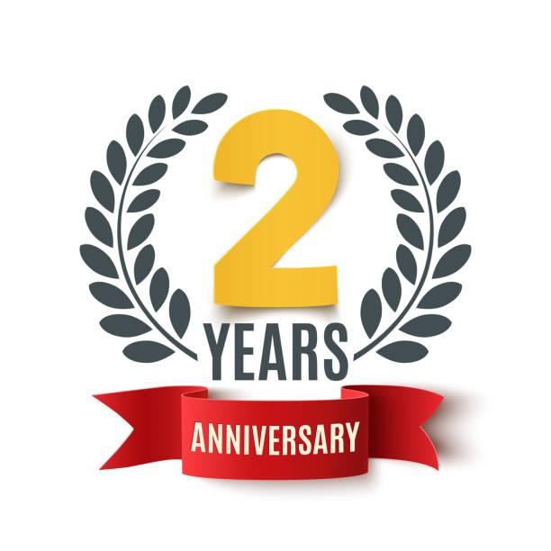 ilustrações, clipart, desenhos animados e ícones de projeto de aniversário de dois anos. - data especial