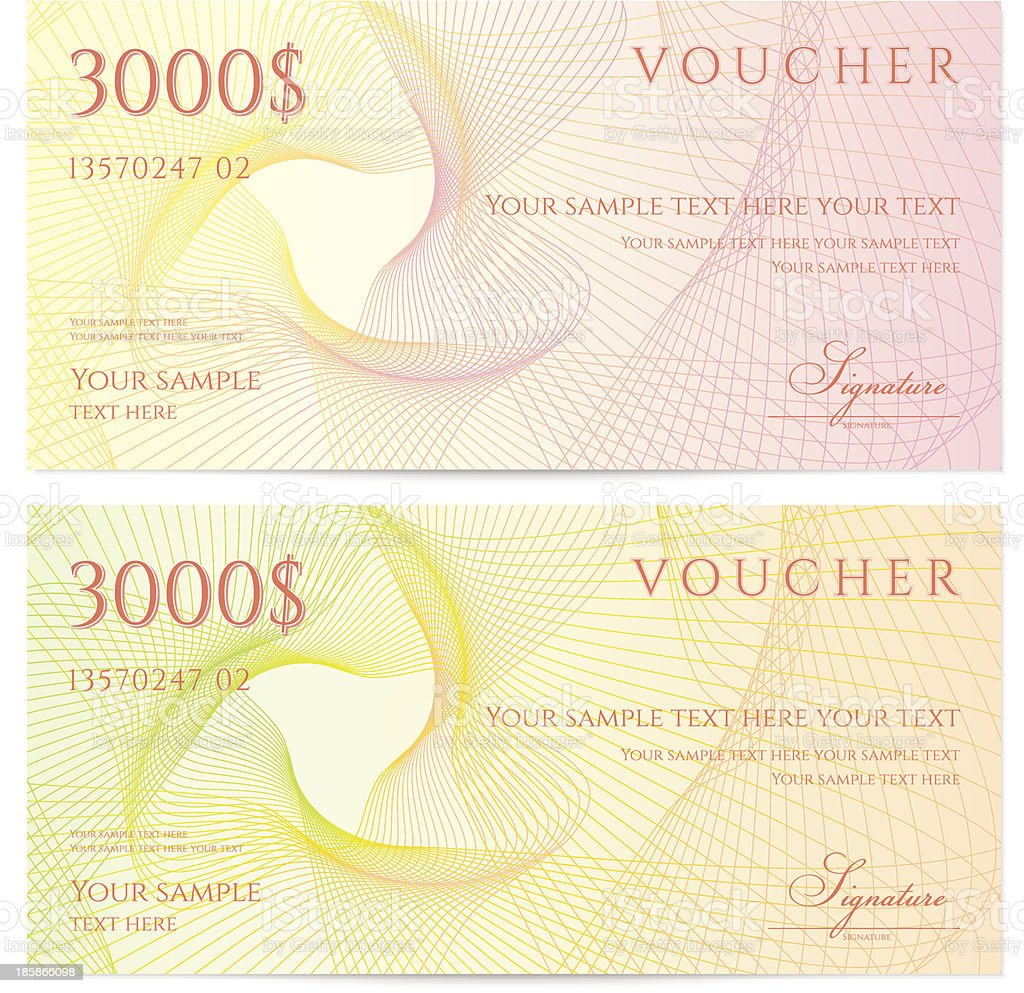 Two yellow and pink $3000 vouchers on a white background royalty-free two yellow and pink 3000 vouchers on a white background stock vector art & more images of abstract