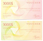 Two yellow and pink $3000 vouchers on a white background
