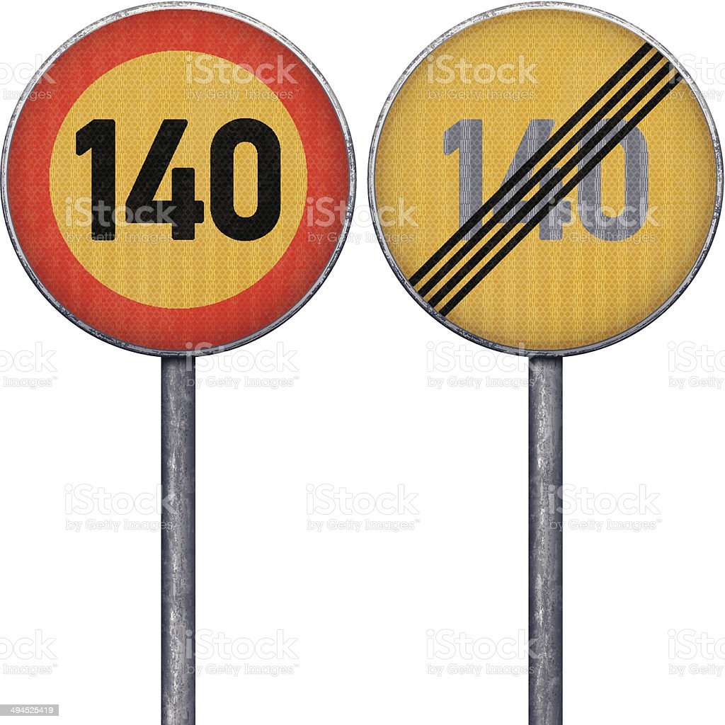 Two yellow and red maximum speed limit 140 road signs royalty-free stock vector art