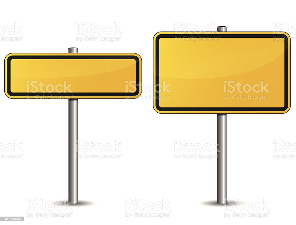Two yellow road signs of different sizes vector art illustration