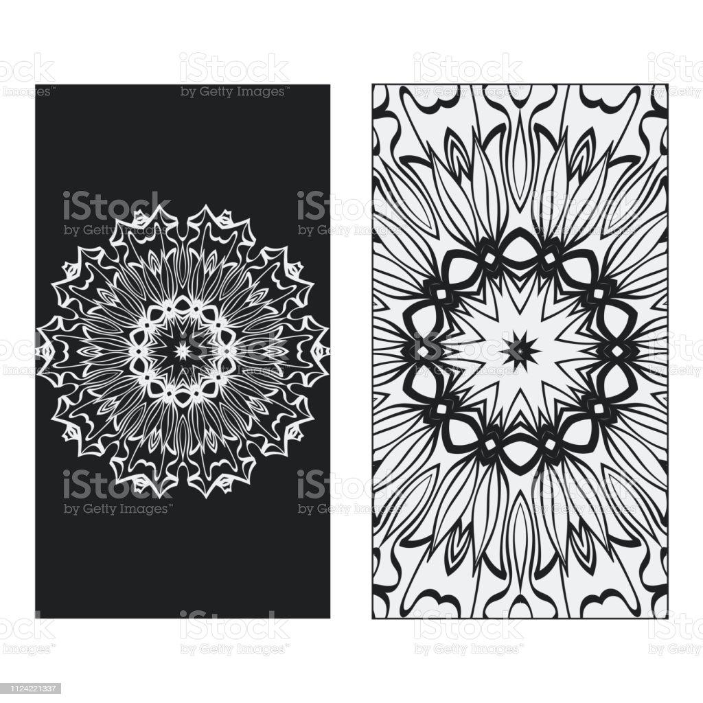 Zwei Yogakarten Flyer Poster Vorlage Mit Mandala Für