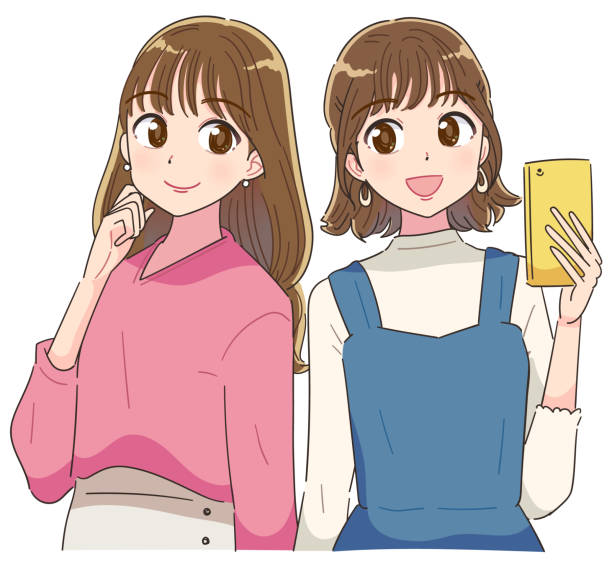 two young and cute girls.they are back to back. - anime girl stock illustrations