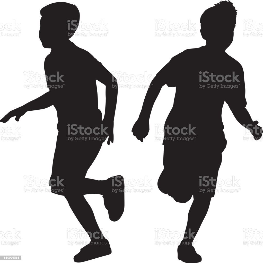 Two Young Boys Running Silhouettes vector art illustration