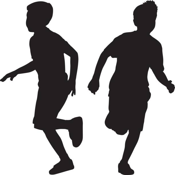 two young boys running silhouettes - brother stock illustrations, clip art, cartoons, & icons