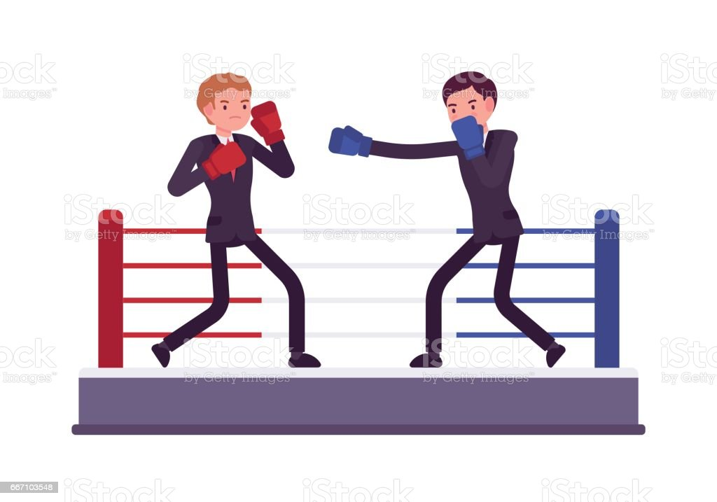 Two young businessmen are boxing, competing for profit and market