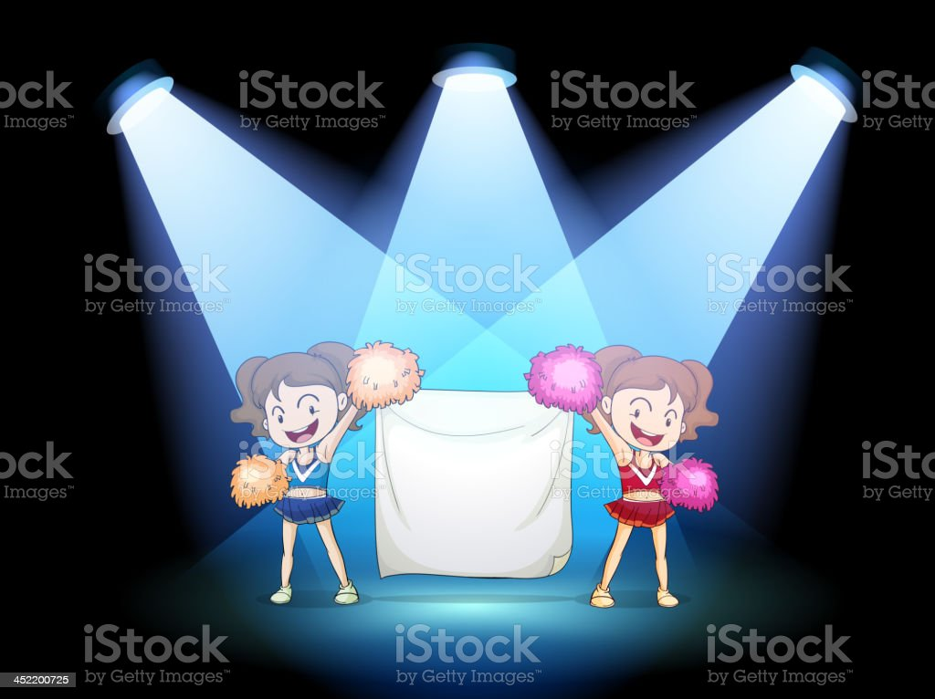 Two young cheerdancers at the stage with an empty banner royalty-free two young cheerdancers at the stage with an empty banner stock vector art & more images of advertisement