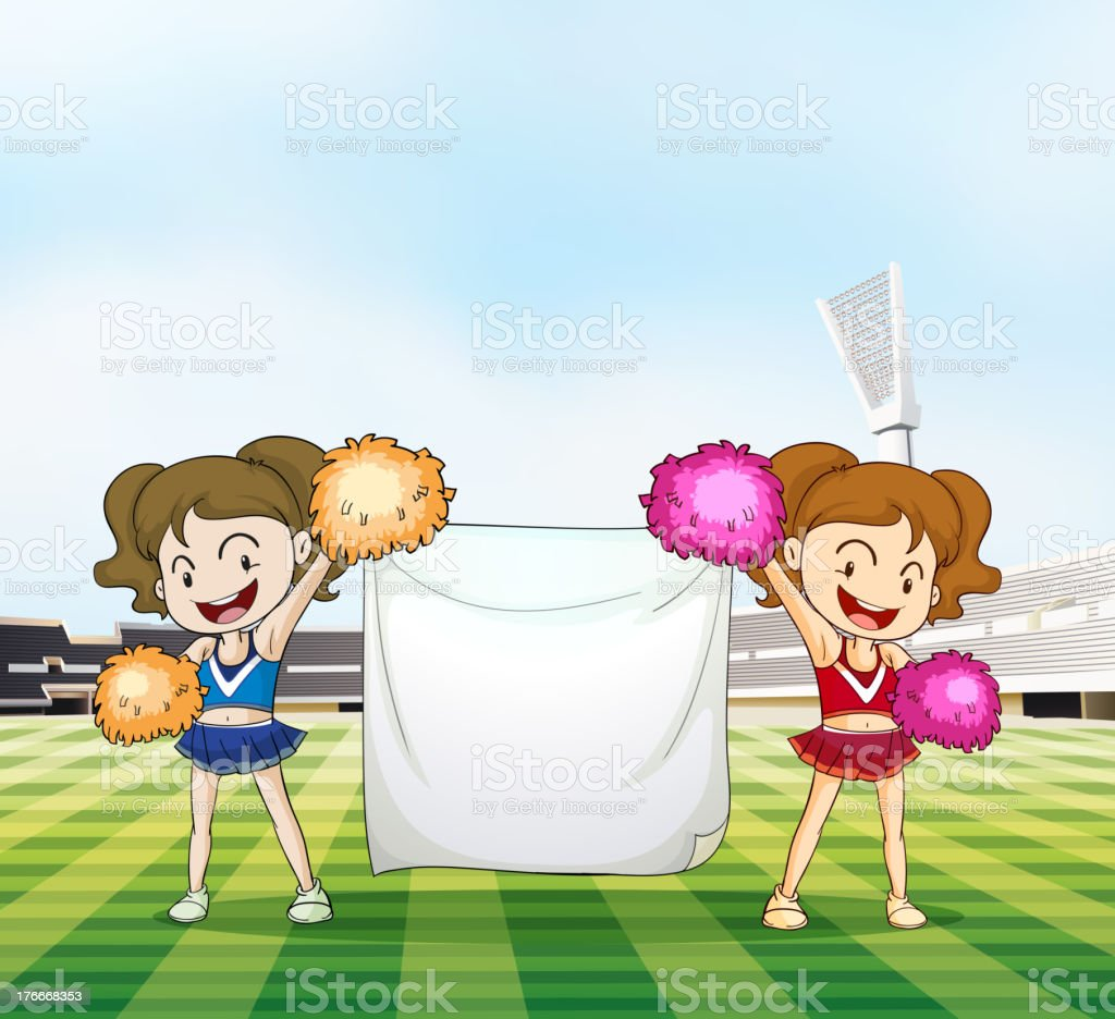 Two young cheerers with an empty banner royalty-free two young cheerers with an empty banner stock vector art & more images of illustration
