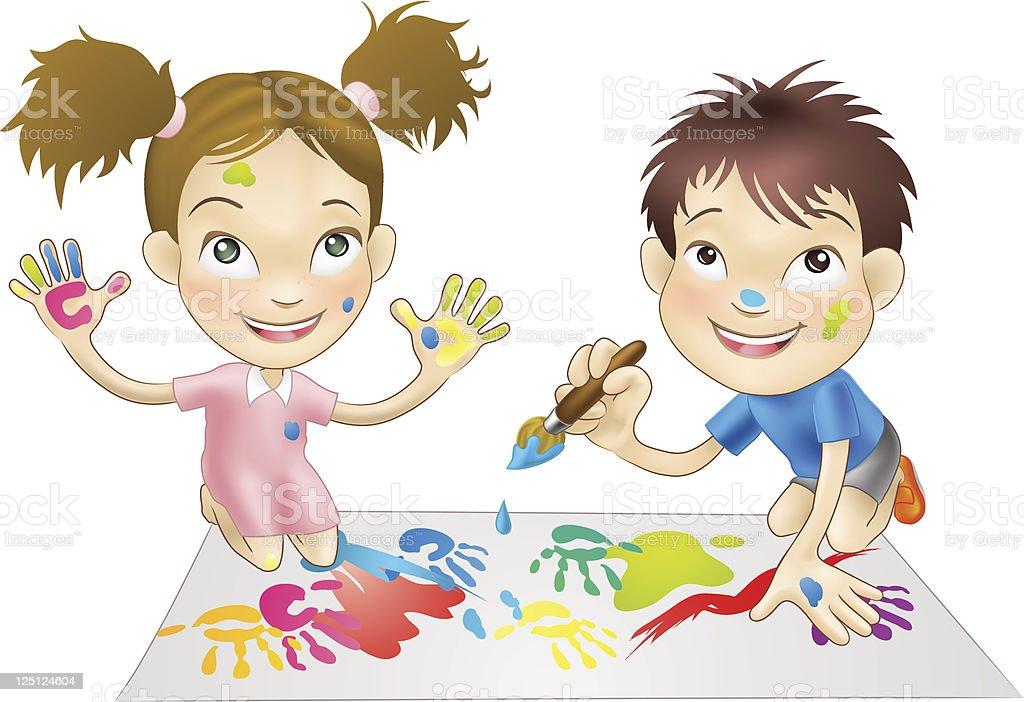 Zwei Kleine Kinder Spielen Mit Farben Vektor Illustration 125124604 ...