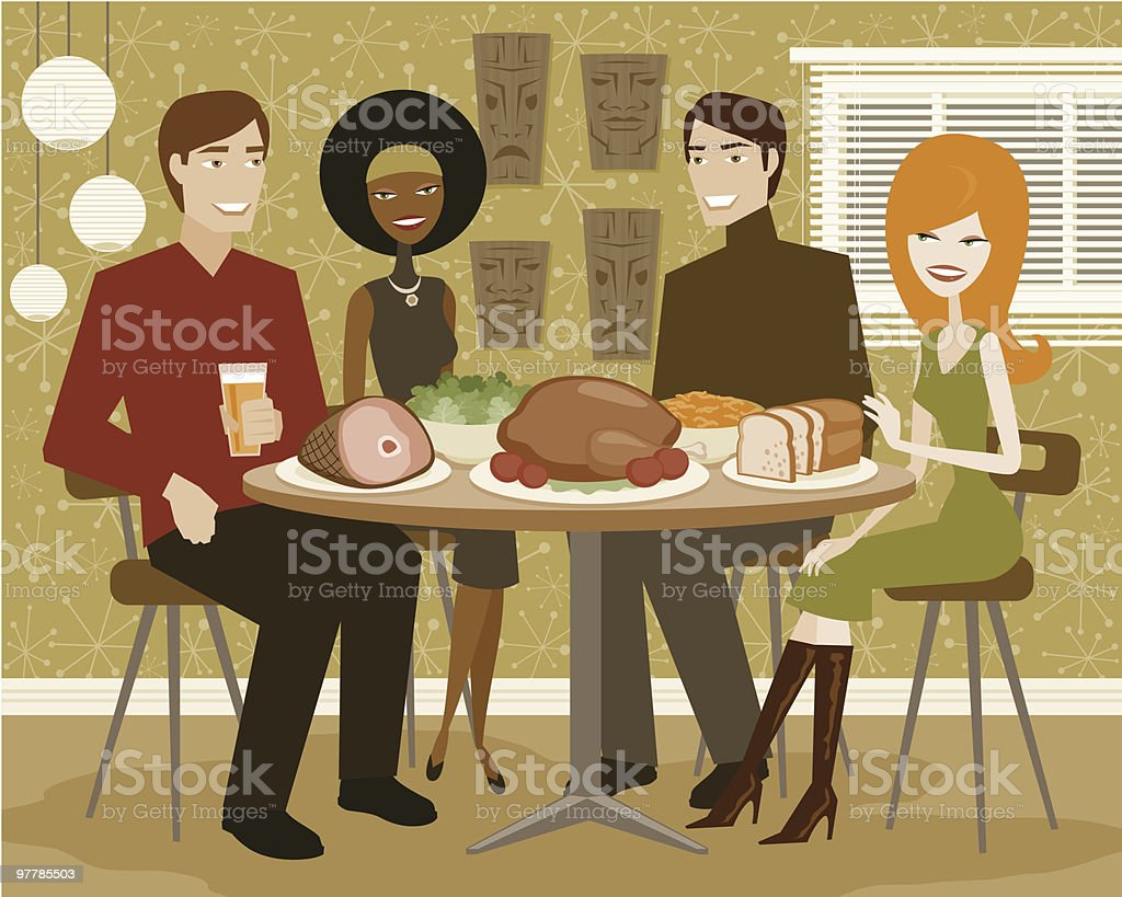 Two Young Couples Having Dinner Party with Turkey vector art illustration