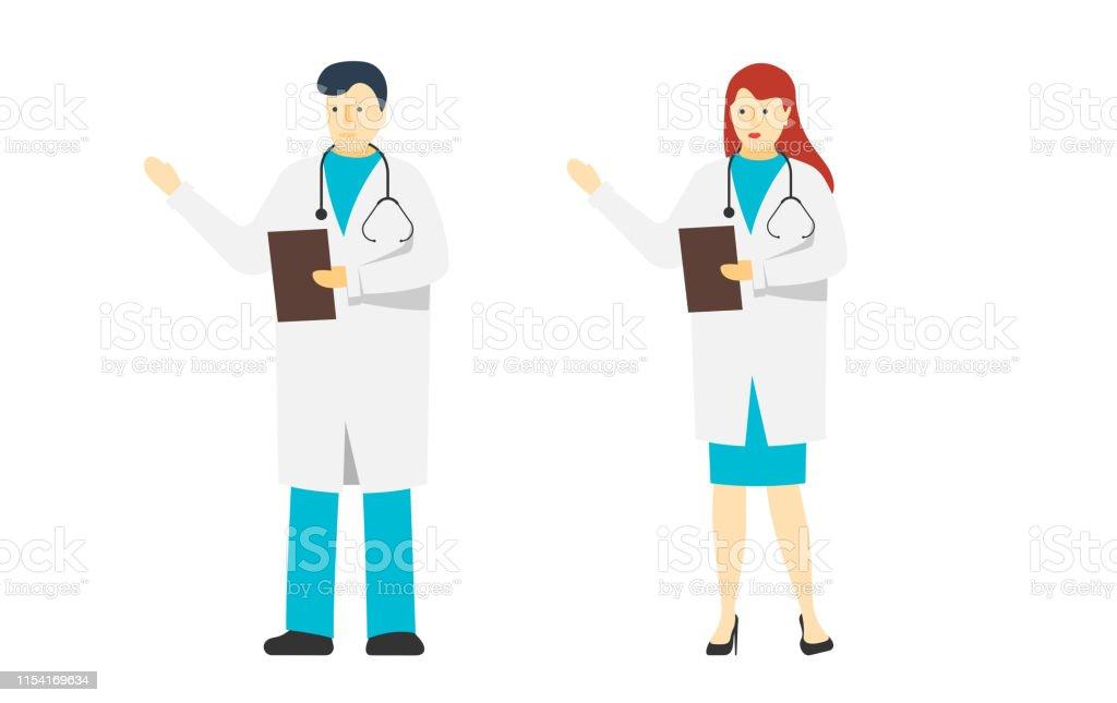 Två unga doktorer manliga och kvinnliga stående. Medicin sjukhus personal. Vit man och kvinna läkare tecken med stetoskop. Vektor platta medicinska personer illustration - Royaltyfri Allmänläkare vektorgrafik