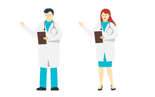 Två Unga Doktorer Manliga Och Kvinnliga Stående Medicin Sjukhus Personal Vit Man Och Kvinna Läkare Tecken Med Stetoskop Vektor Platta Medicinska Personer Illustration-vektorgrafik och fler bilder på Allmänläkare