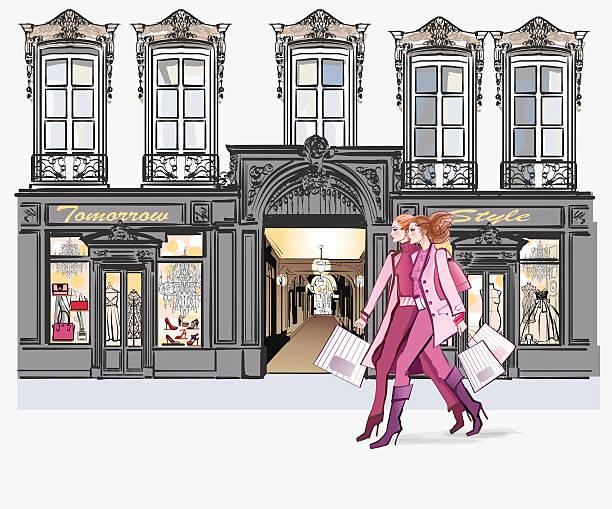 ilustrações, clipart, desenhos animados e ícones de duas jovens mulheres compras moda - moda parisiense