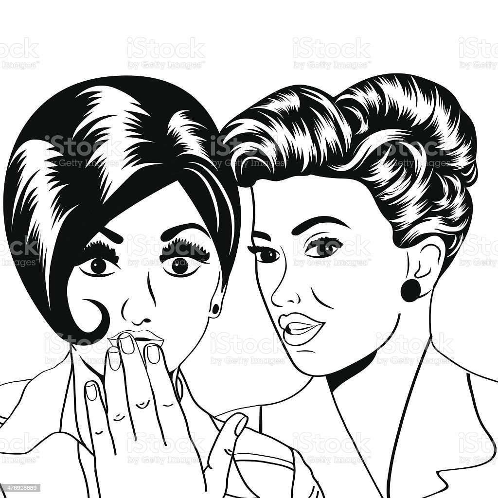 Two young girlfriends talking, comic art illustration royalty-free two young girlfriends talking comic art illustration stock vector art & more images of adult