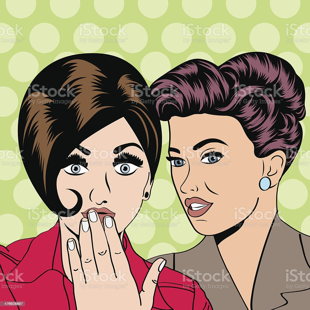 Two young girlfriends talking, comic art illustration royalty-free stock vector art