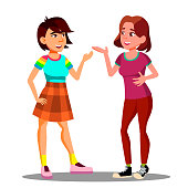 Two Young Girls Actively Discuss With Gestures Vector. Illustration