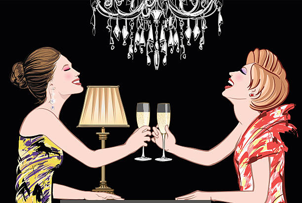 Two young happy women with champagne glasses vector art illustration