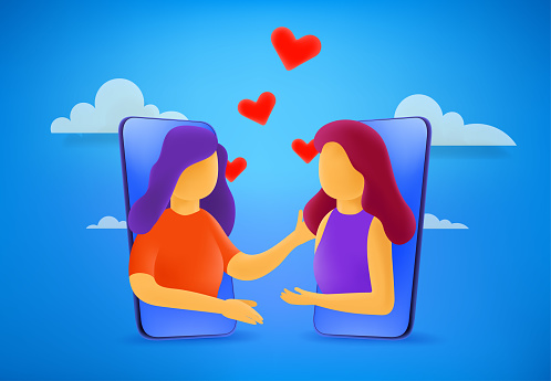 Two young lesbian woman in love. 3d style cute illustration