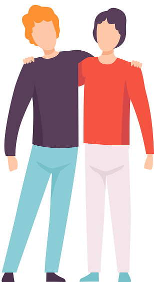 두 젊은 남자 포옹 행복한 만남 이벤트를 축하하는 사람들 가장 친한 친구 우정 개념 벡터 일러스트 귀여운에 대한 스톡 벡터 아트 및 기타 이미지