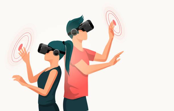 Zwei junge Menschen nutzen Virtual-Reality-Headsets – Vektorgrafik