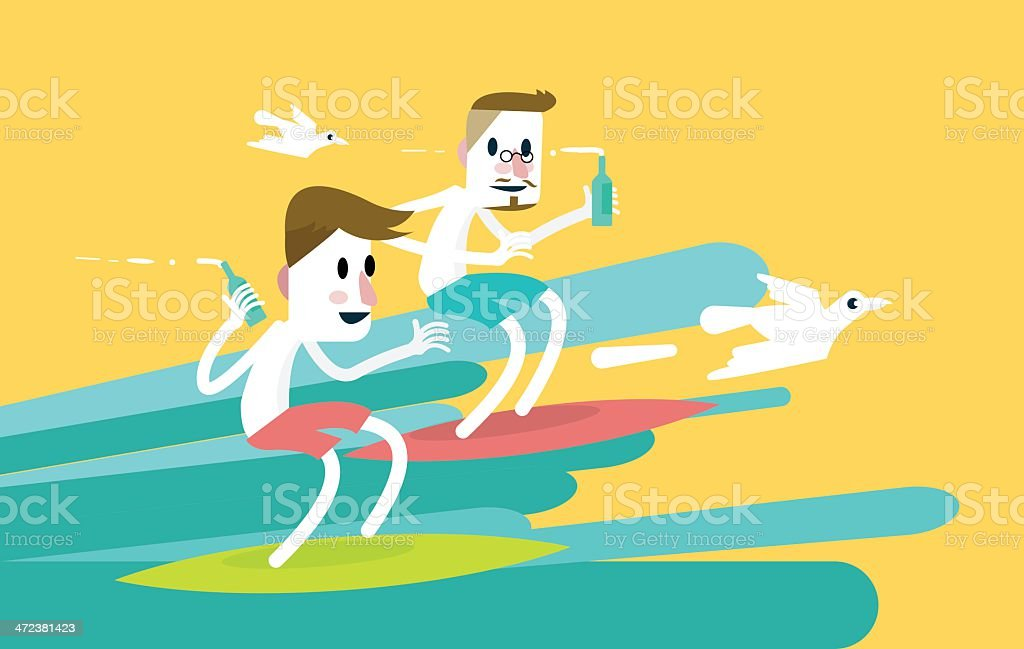 Two young sports surfer men riding a wave. royalty-free stock vector art
