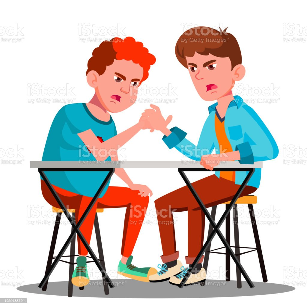 Two Young Strong Men Compete In Arm Wrestling Vector. Isolated Illustration royalty-free two young strong men compete in arm wrestling vector isolated illustration stock illustration - download image now