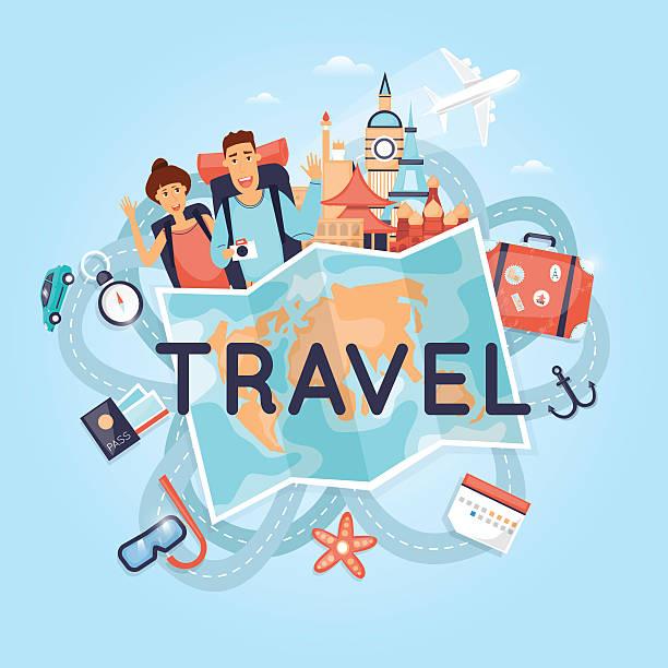 Zwei junge Touristen auf Urlaub. Charakter-design. Welt reisen. – Vektorgrafik