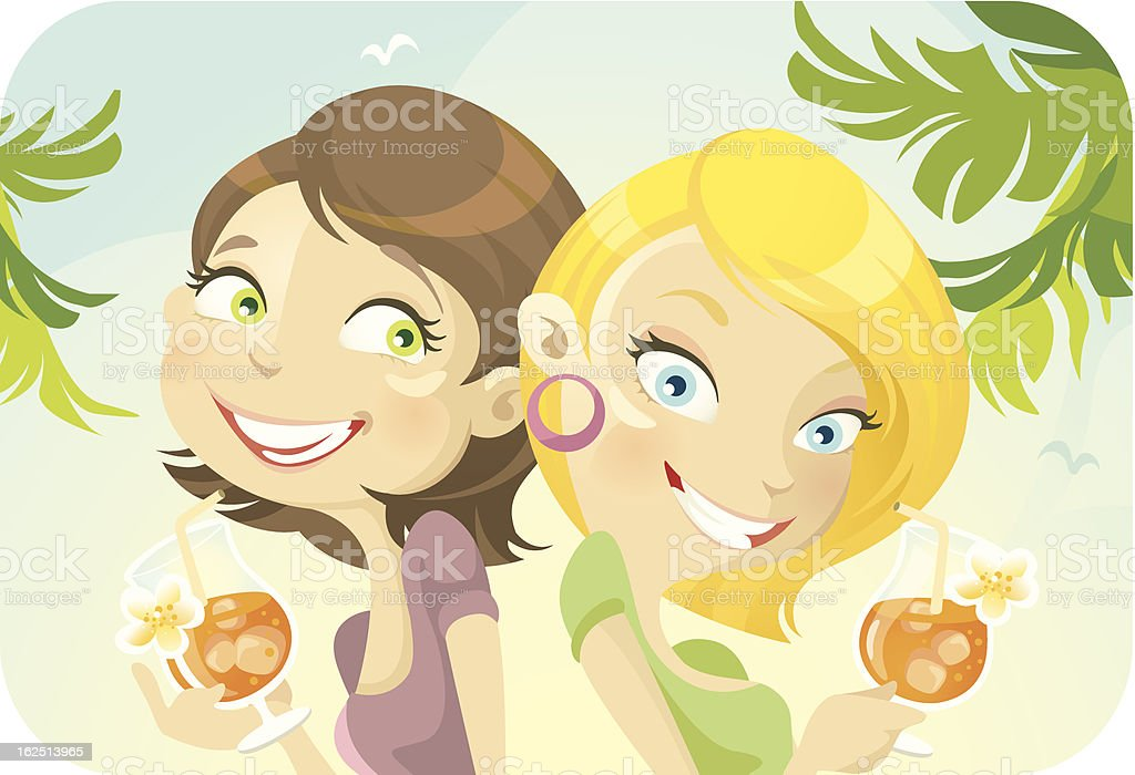 Two Young Woman Drinking Cocktails on Sunny Day vector art illustration