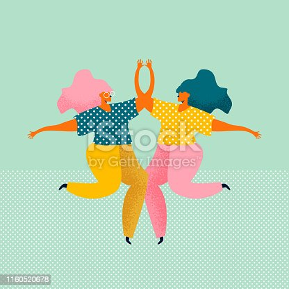 Two young women dressed in modern clothes are dancing and jumping together. Meeting of female friends. Female characters isolated on blue background. Colored vector illustration in flat style.