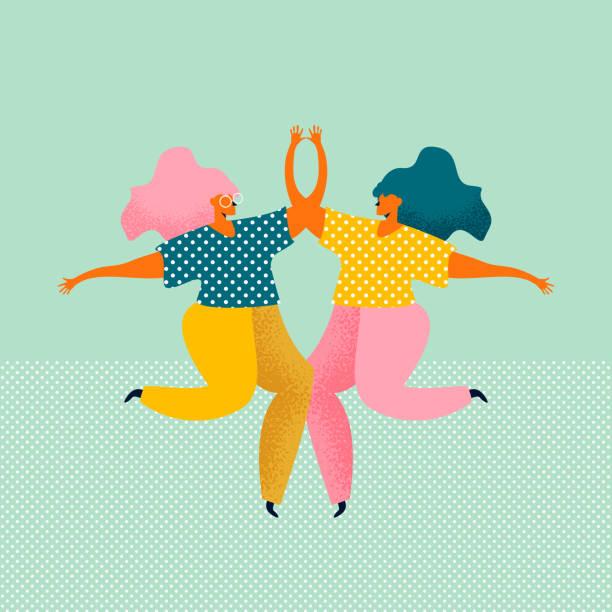 ilustraciones, imágenes clip art, dibujos animados e iconos de stock de dos mujeres jóvenes vestidas con ropa moderna están bailando y saltando juntas. reunión de amigas. personajes femeninos aislados sobre fondo azul. ilustración vectorial de color en estilo plano. - hermana