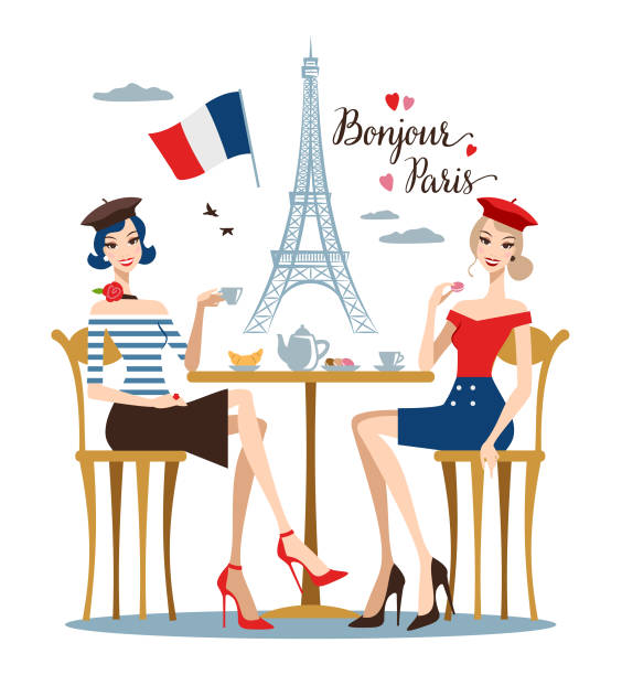 Two young women in a Paris cafe Two young women drinking coffee in a Paris cafe. french language stock illustrations
