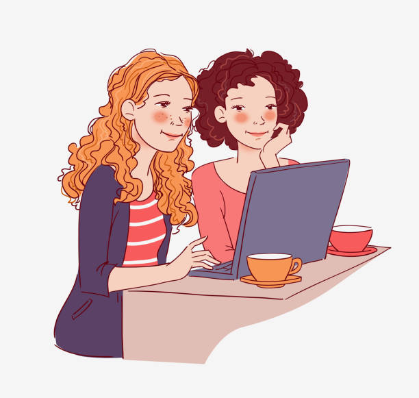 Two young women sitting at the table and looking for something on the Internet Two young women sitting at the table and looking for something on the Internet girlfriend stock illustrations