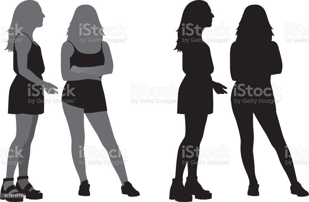 シルエットに立って一緒に 2 人の若い女性 2人のベクターアート素材や